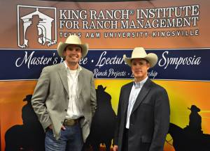 Travis Brown with the King Ranch® Institute for Ranch Management's Dr. Clay Mathis.