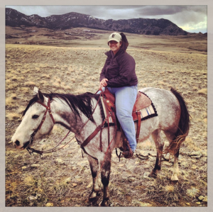 Rose Malisani on her horse near Cascade, MT.