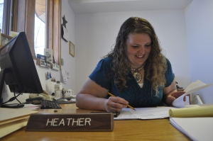 Heather Malcolm at her desk - Bank of the Rockies - Livingston, Montana.